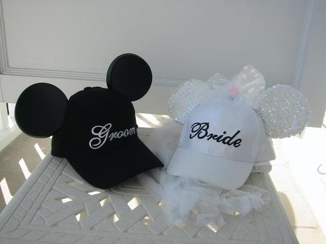 Make Bride   Groom Mouse Ear Baseball Caps - Disney Travel Babble 6beb6b539e5